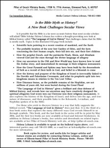 Press Release for 'The Language of God in History'